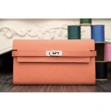 Hermes Kelly Longue Wallet In Crevette Clemence Leather