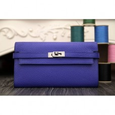 Hermes Kelly Longue Wallet In Electric Blue Clemence Leather