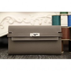 Hermes Kelly Longue Wallet In Etoupe Epsom Leather