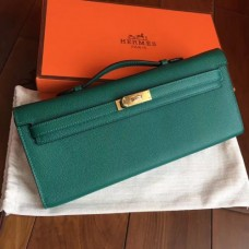 Hermes Malachite Epsom Kelly Cut Clutch Handmade Bags