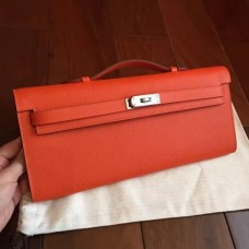 Hermes Orange Epsom Kelly Cut Clutch Handmade Bags