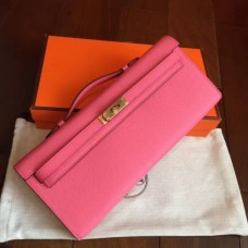 Hermes Rose Lipstick Epsom Kelly Cut Clutch Handmade Bags