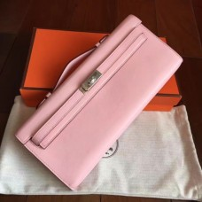 Hermes Rose Dragee Swift Kelly Cut Clutch Handmade Bags