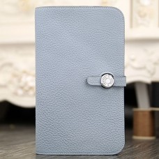 Hermes Dogon Combine Wallet In Blue Lin Leather
