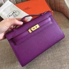 Hermes Cyclamen Epsom Kelly Pochette Handmade Bags