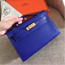 Hermes Electric Blue Epsom Kelly Pochette Handmade Bags