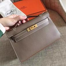 Hermes Etoupe Epsom Kelly Pochette Handmade Bags