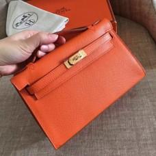 Hermes Orange Epsom Kelly Pochette Handmade Bags