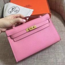 Hermes Pink Epsom Kelly Pochette Handmade Bags