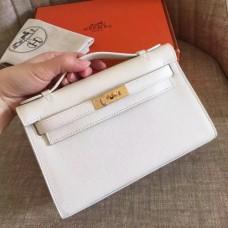 Hermes White Epsom Kelly Pochette Handmade Bags