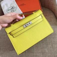 Hermes Soufre Epsom Kelly Pochette Handmade Bags