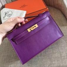 Hermes Cyclamen Swift Kelly Pochette Handmade Bags