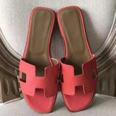 Hermes Oran Sandals In Rose Azalee Epsom Leather