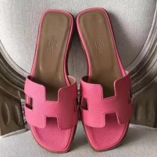 Hermes Oran Sandals In Rose Confetti Epsom Leather