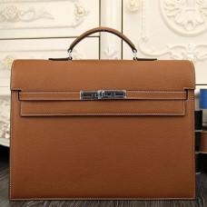 Hermes Brown Kelly Depeche 38cm Briefcase Bags