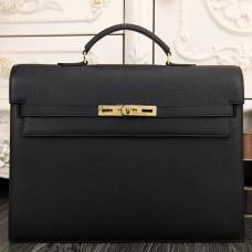 Hermes Black Kelly Depeche 38cm Briefcase Bags