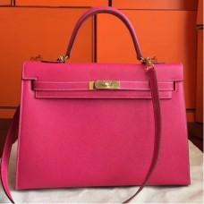 Hermes Rose Tyrien Epsom Kelly 32cm Sellier Handmade Bags