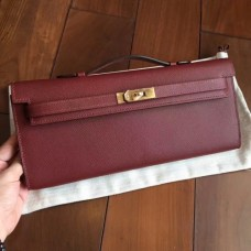Hermes Bordeaux Epsom Kelly Cut Clutch Handmade Bags