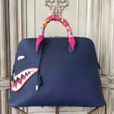 Hermes Shark Bolide 45cm Bags In Blue Calfskin