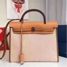 Hermes HerBags Zip PM 31cm Bags In Beige Canvas