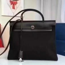 Hermes HerBags Zip PM 31cm Bags In Black Canvas