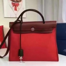 Hermes HerBags Zip PM 31cm Bags In Red Canvas
