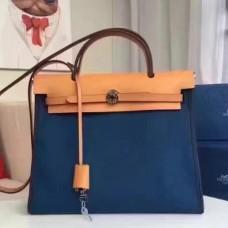 Hermes HerBags Zip PM 31cm Bags In Sapphire Canvas