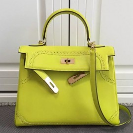 Hermes Kelly Ghillies 28cm In Yellow Swift Leather