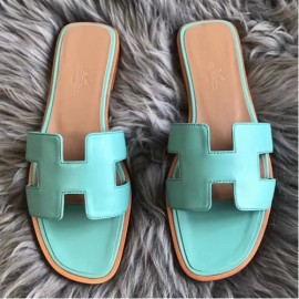 Hermes Oran Sandals In Blue Atoll Swift Leather